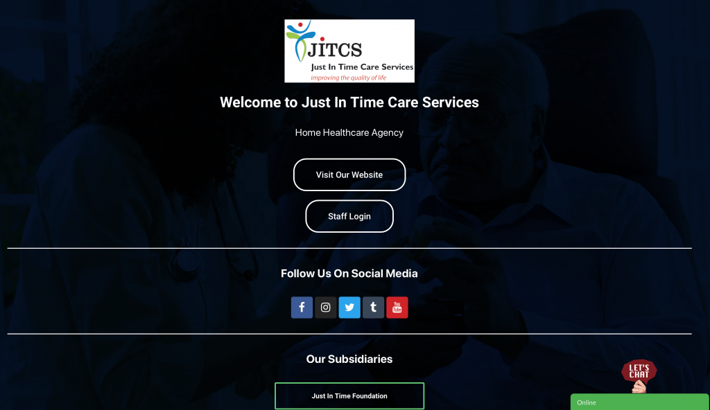 Just In Time Care Services Landing Page Screenshot